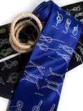 "Sailing Knots royal blue silk necktie. ""Knotical"" tie."