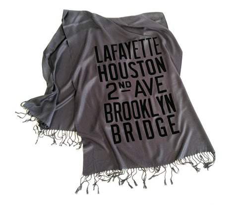 New York City Subway Pashmina Scarf. Brooklyn & Manhattan scroll sign.