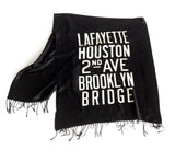 Black New York City Subway Scroll Pashmina Scarf.