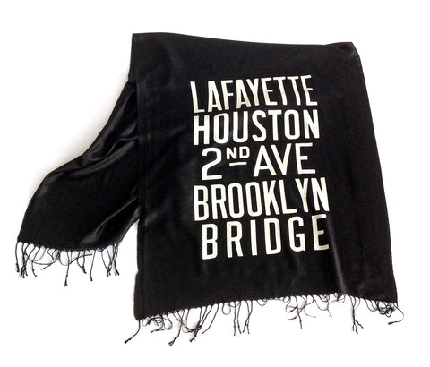 New York City Subway Scarf. Brooklyn scroll sign linen-weave pashmina.