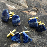 Lapis Lazuli Cufflink sets, blue raw stone cuff links