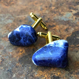 Lapis Lazuli Cufflinks, blue raw stone cuff links by Cyberoptix