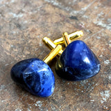 Lapis Lazuli Cufflinks, blue raw stone cuff links