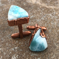 Larimar Cufflinks, Electroformed copper gemstone cuff links