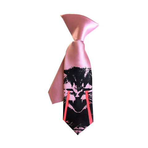 Angry Raving Laser Kitten kids tie. Boys clip-on cat necktie, glowing eyes.