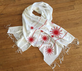 Laser Scarf, white and red