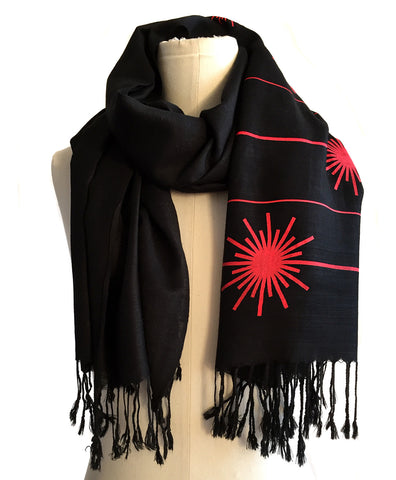 Laser Radiation Warning linen-weave pashmina.