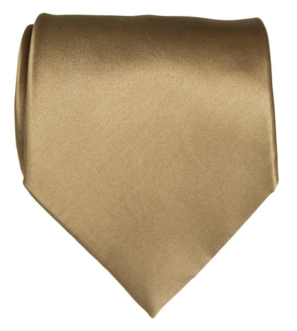 Latte Necktie. Tan Solid Color Satin Finish Tie, No Print