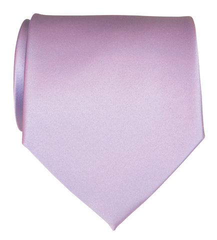 Lavender Necktie. Light Purple Solid Color Satin Finish Tie, No Print