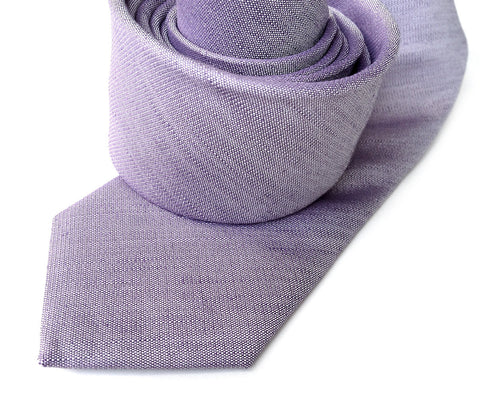 Lavender Linen Necktie. Solid Color Tie, Purple Gang