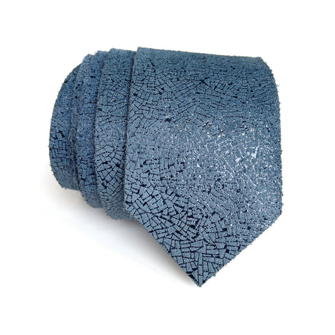 Blue Shatter Foiled Leather Necktie