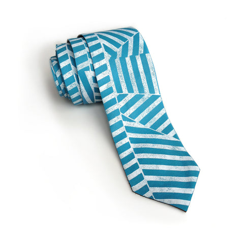 Blue and White Op Art Striped Leather Necktie