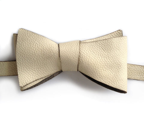 Cream Textured Leather Bow Tie