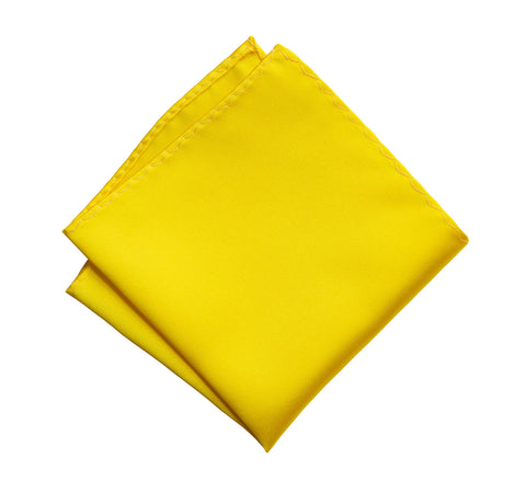 Lemon Yellow Pocket Square. Solid Color Satin Finish, No Print