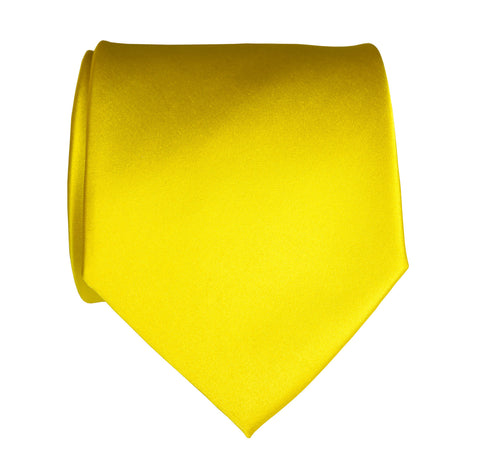 Lemon Yellow Necktie. Solid Color Satin Finish Tie, No Print