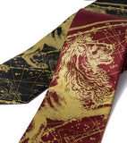 Leo Constellation Print Necktie. Gold on burgundy, navy.