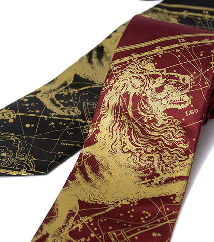Leo Necktie, The Lion. Zodiac Constellation Star Chart Tie