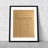 Kraft Brown Library Date Due Card Poster, Book Print, by Cyberoptix. 19x25