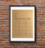 Library Date Due Card Poster, Book Print, by Cyberoptix