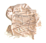 Library Scarf. Black on blush light pashmina.