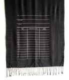 Library Scarf. White on charcoal light pashmina.