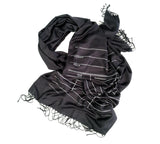 charcoal grey library scarf, date due card print. by cyberoptix