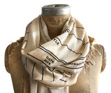 Parchment library date due scarf, luxe weight. Librarian gift by cyberoptix.