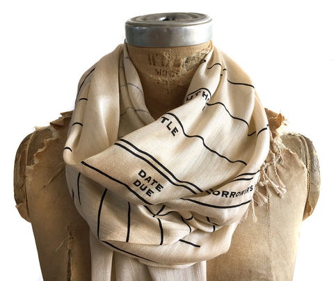 Library Date Due Card Scarf. Luxe weight