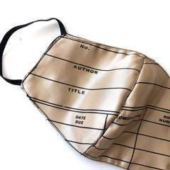 Library Date Due Card Face Mask, adjustable fabric face cover