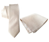 "Light Khaki Linen Necktie & Pocket Square, ""Davison"" by Cyberoptix"