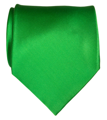 Lime Green Necktie. Solid Color Satin Finish Tie, No Print