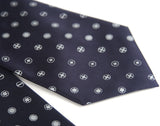Navy blue screw print necktie, Cyberoptix Ties