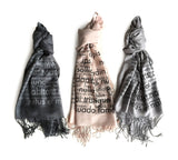 Lorem Ipsum Scarf: pale grey on charcoal, black on blush, black on silver.