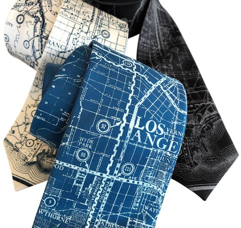 Los Angeles Map Necktie. Old California Map Print Tie