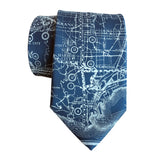 Los Angeles County Map Necktie. Ice on French Blue Tie, by Cyberoptix