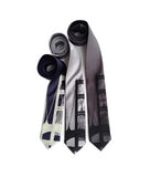 Mackinac Bridge Necktie. Ivory on navy; black on silver, charcoal