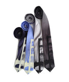 Mackinac Bridge Necktie. Ivory on navy, periwinkle; black on silver, charcoal