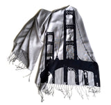Navy on silver pashmina