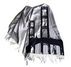 Mackinac Bridge Linen-weave Pashmina