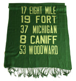 Forest green Detroit Bus Scroll scarf, apple-lime print.