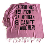 Detroit Scroll scarf, orchid pashmina.