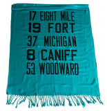 Detroit Bus Scroll scarf, teal blue.