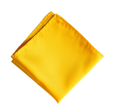 Marigold Pocket Square. Medium Yellow Solid Color Satin Finish, No Print