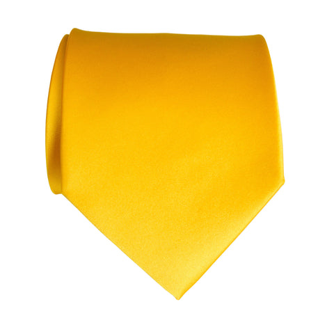 Marigold Necktie. Medium Yellow Solid Color Satin Finish Tie, No Print