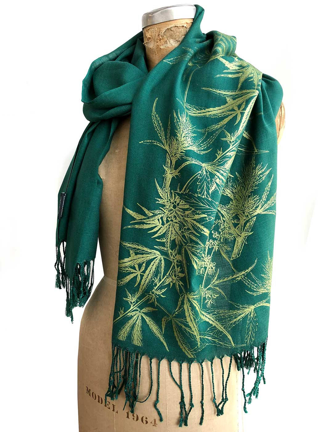 Printed Scarves Pashmina Wraps For Weddings Everyday Of Circuit Board Illustration A Green Cannabis Leaf Scarf Linen Weave