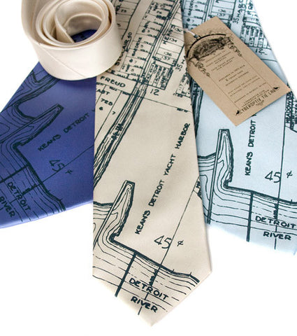 Detroit Map Silk Necktie, Detroit River & Marina