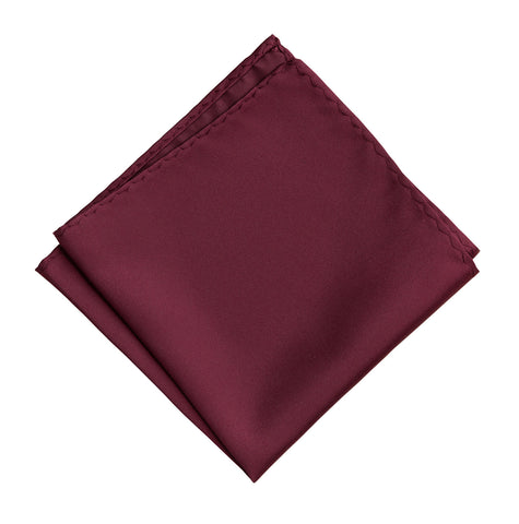 Maroon Pocket Square. Solid Color Dark Red Satin Finish, No Print