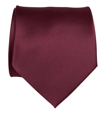 Maroon Necktie. Solid Color Dark Red Satin Finish Tie, No Print