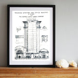 Hand printed Detroit Train Station Blueprint art print, by Cyberoptix.