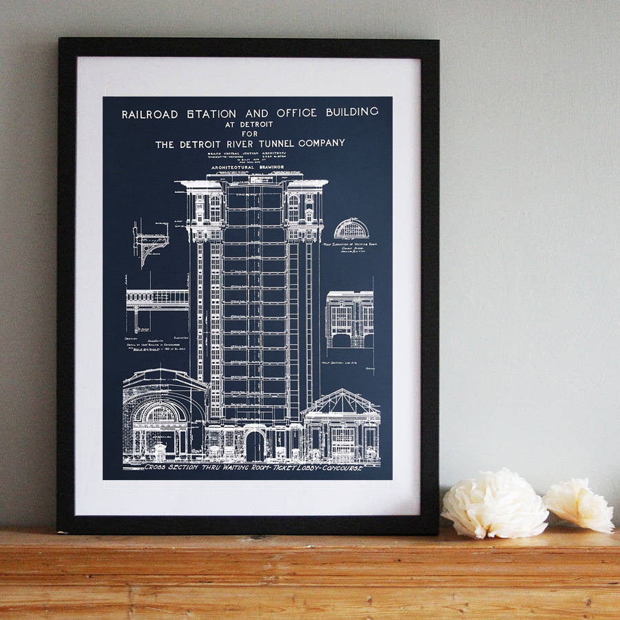 Blueprint art print detroit train station by cyberoptix detroit train station blueprint navy blue art print malvernweather Image collections
